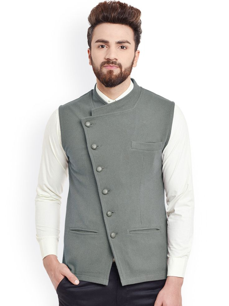 Buy Hypernation Grey Nehru Jacket -  - Apparel for Men from Hypernation at Rs. 1259