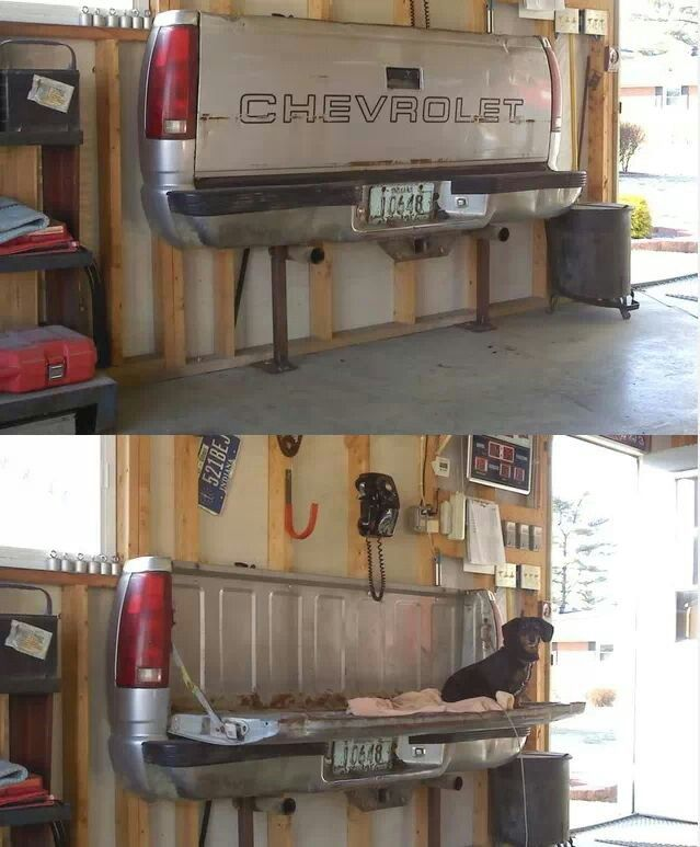 Chevy tailgate seat or table for the shop! #idea #truck #mancave
