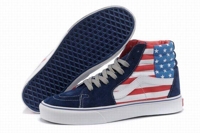 Vans SK8-Hi American Flag Blue White Women's Shoes #Vans