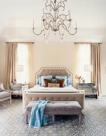 bedrooms - purple lilac tufted velvet bench headboard blue beige rug mirrored Horchow nightstands crystal chandelier tall crystal glass lamps lilac bergere chair beige linen drapes blue brown velvet throw pillows