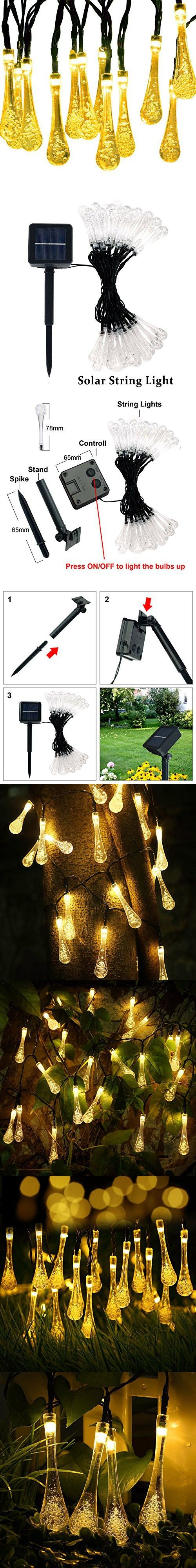 Solar Outdoor String Lights, CREATIVE DESIGN Water Drop Solar String Fairy Lights, 17.4ft 30LEDs Starry Light Ambiance Lighting for Christmas, Party, Wedding, Garden (8 Modes 30LEDS) (Warm White)