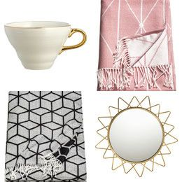 H&M home minimalistic homeware inspiration, scandinavian, interior: Textured Porcelain Cup, Scented Candle in Glass Holder, Round Mirror, Metal Wire Basket, Jacquard-weave Bath Towel, Bird Figure, Glass, Jacquard-weave Throw, Metal Watering Can, Jacquard-weave Throw, Metal Salad Servers, Textured Porcelain Plate, Jacquard-weave Bath Mat, Coaster