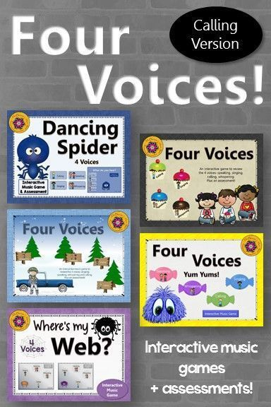 5 engaging games to reinforce the 4 voices with your Kindergarten and First Grade classes plus assessments! Your students will beg to play the interactive games again. Great activities to reinforce your Orff and Kodaly curriculum.