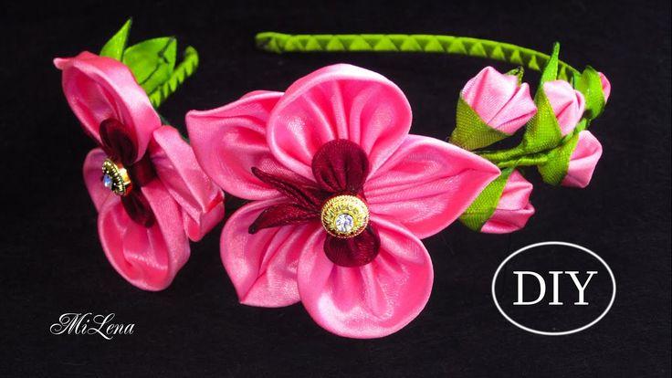 ОРХИДЕИ КАНЗАШИ, МК / Ободок с орхидеями, МК / DIY Kanzashi Orchid Headband