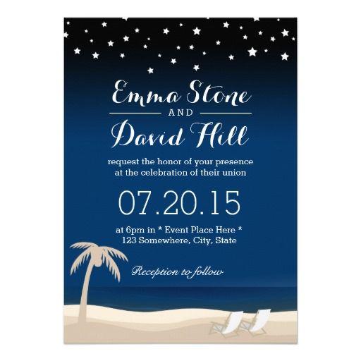 Summer Night Beach Wedding Invitations