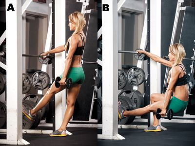 Single Leg Squat   WORKS: GLUTES, HAMSTRINGS • Stand in a Smith machine, grip the barbell with your right hand, and hold a dumbbell in your left hand (A). • Raise your left leg off the floor, foot flexed, and sink down into a squat until your right thigh is at least parallel to the floor (B). • Drive through your heel to push up to the starting position.