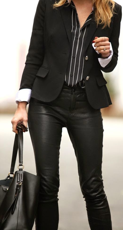 Black blazer with leather pants