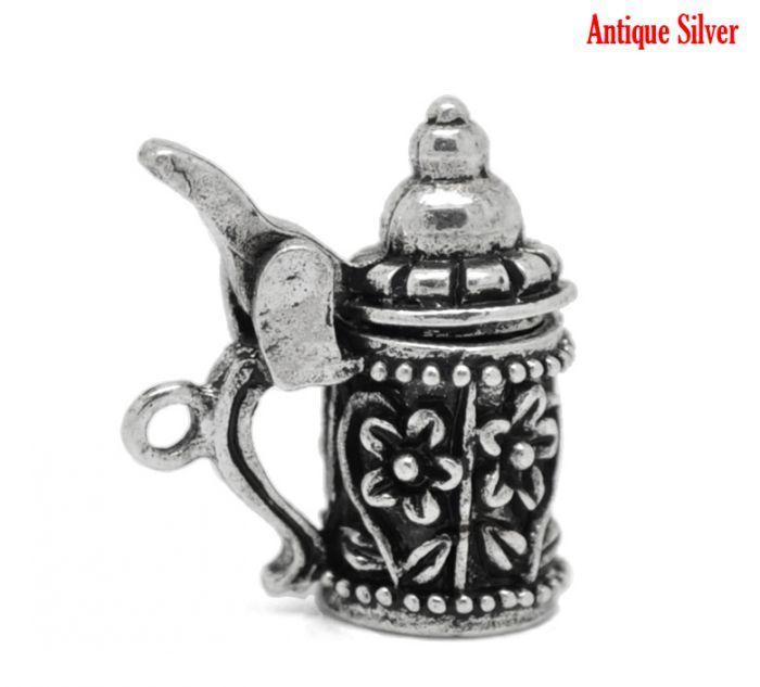 "DoreenBeads 10PCs Antique Silver Flower Pattern German Beer Stein Charm Pendants 19mm x 18mm(6/8""x 6/8"") #Affiliate"