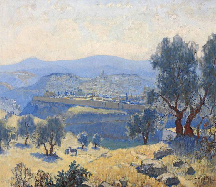 Konstantin Gorbatov (Russian, 1876-1945), Jerusalem. Oil on canvas, 71.1 x 80 cm.