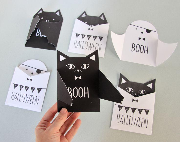 """Carte """"à bras"""" en forme de fantôme, chauve-souris ou chat et sa pochette - tutoriel"""