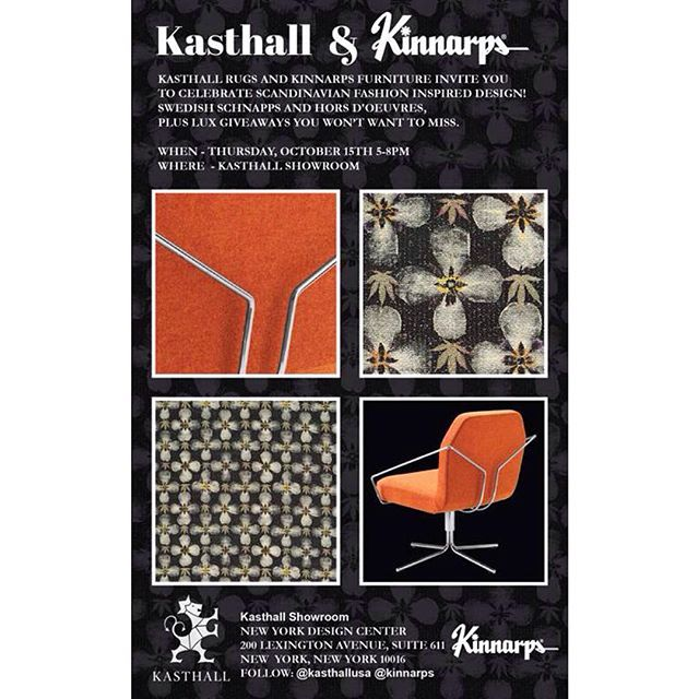 @kasthallusa and @kinnarpsbrands invite you to celebrate Scandinavian fashion inspired design! Today 5-8 at The New York Design Center, Suite 611! RSVP link in bio!