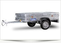 Goliath – Extra Strong 1 axle trailer without brake. Total weight 500 kg. or 750 kg. 40 cm. High steel sides. 13 ″ Wheels on the side of the box. Hot galvanized and extra strong.