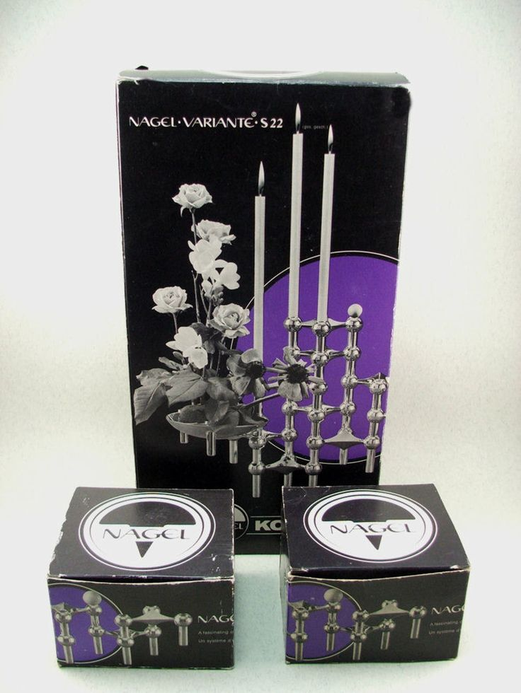 Mid-Century vintage NAGEL set of 5 candle holders all original boxed Nagel Quist era von ScAJanusCOLOGNE auf Etsy