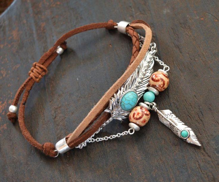 Cowgirl Bling Feather Bead TURQUOISE Boho Southwest Bracelet Gypsy western #icon #adjustable
