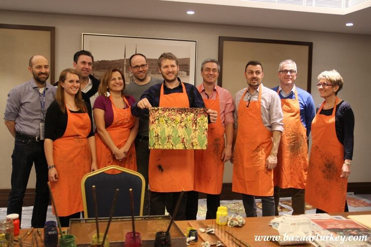 Team Building - Marbling Class with Baxter Healthcare Company Meeting in Istanbul - March 2016  http://www.bazaarturkey.com/tours/turkish_marbling_lesson.html