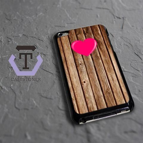 Wood Heart iPod 4 Black Case