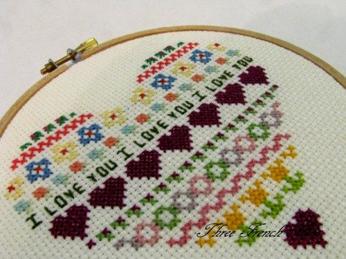 Sweet Heart Embroidery Hoop Art Cross Stitch Love For Your Walls ... in my shop now!