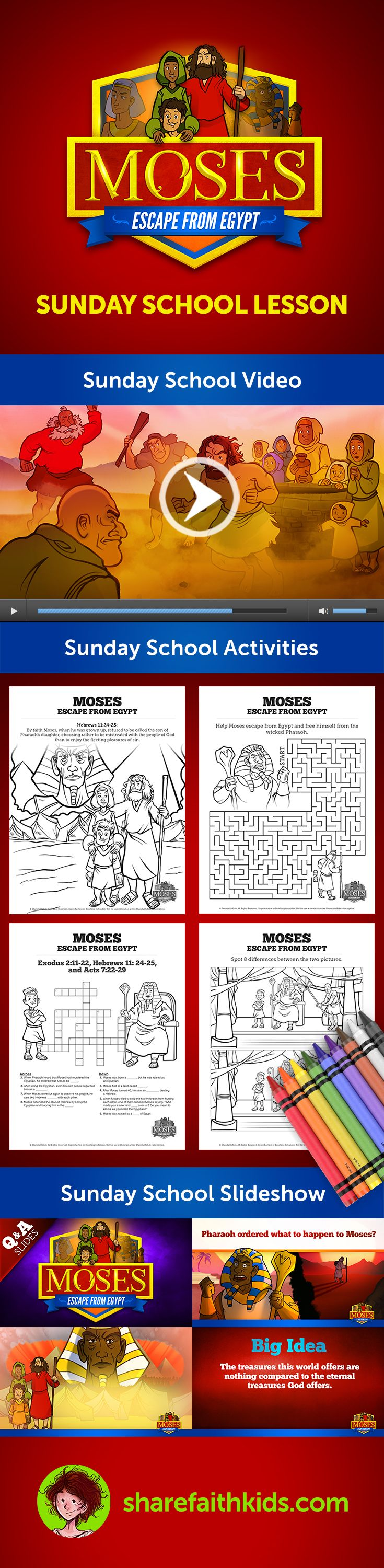 Exodus 2 Moses Escapes From Egypt Kids Bible Lesson: Moses Escapes From Egypt (Exodus 2:11-25) This Sunday School lesson provides a wealth of teacher resources that will make your lesson a surefire hit!