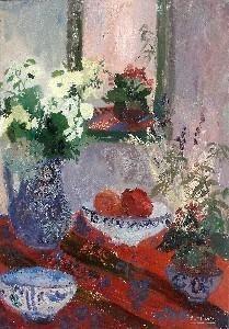 Nancy Delouis - Nature Morte Aux Fleurs Et Aux Fruits