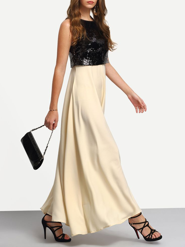 robe longue sequins sans manche noir beige colors flare and manche. Black Bedroom Furniture Sets. Home Design Ideas