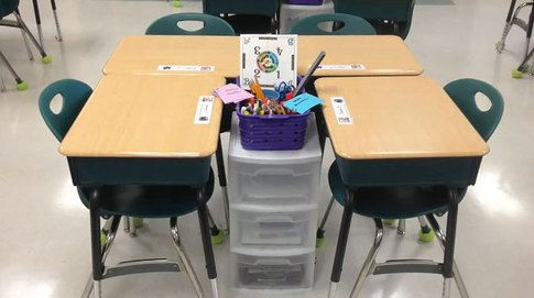 Seating arrangements with workstations. Workstations at the desk to reduce movement in the classroom.