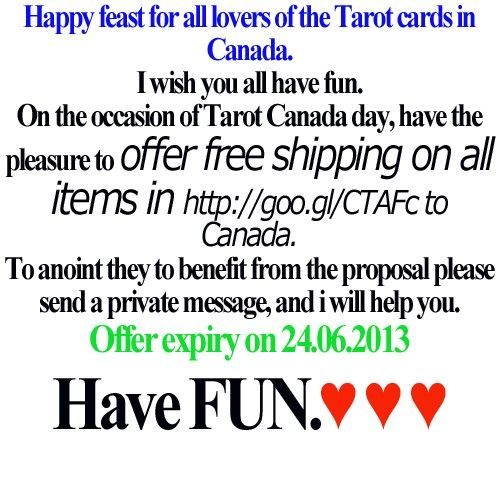 Free shipping to Canada on all items in Tarotbgshop #tarotdayincanada