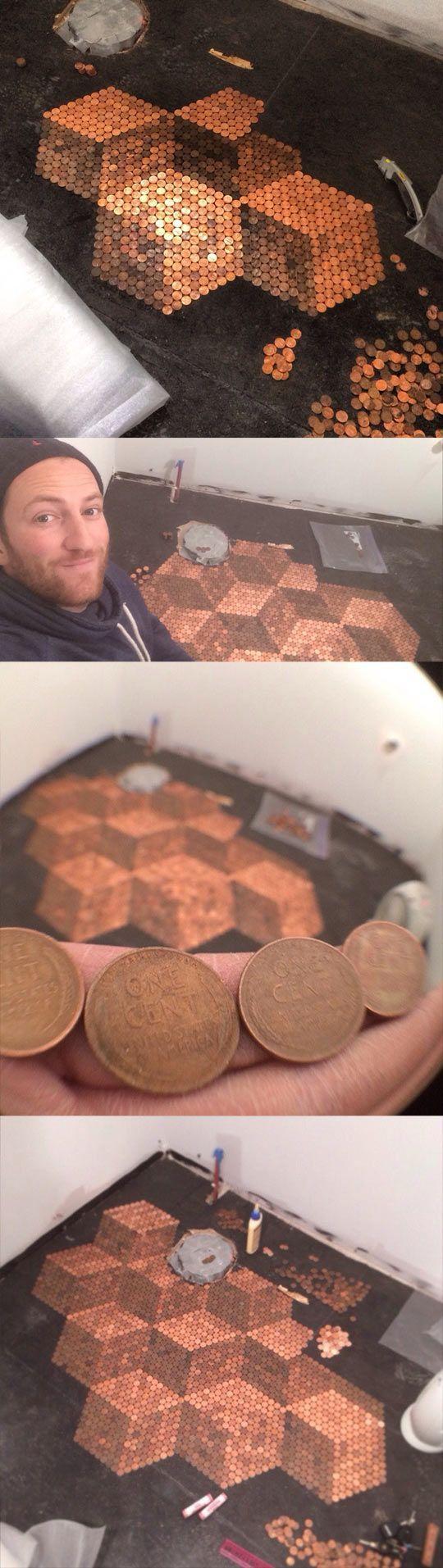 coins pennies floor bathroom. very cool with pattern. bodekunst mit pennies. pfennige. cent fussboden. super cooles muster.
