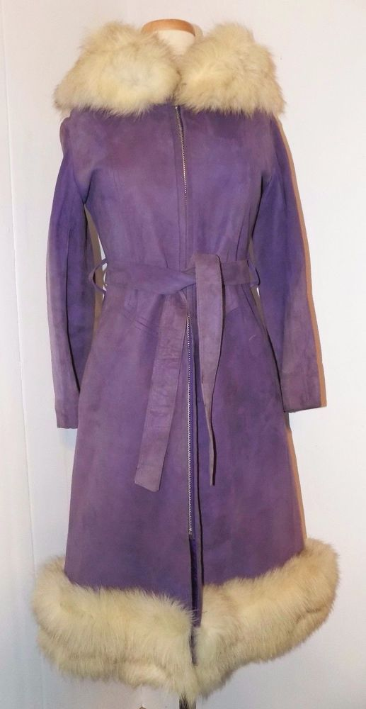 "1970's ""POP BOMBSHELL"" Coat Purple suede & silver fox  Sz 8      Look !!! #Unbranded"