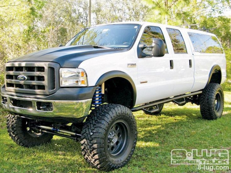 Anthony Corrado's 2005 Ford F350 Super Duty Fleet truck is no weekend rider as he pulls a 9,500 pound, 32-foot trailer daily with his lifted diesel truck, at 8-Lug Magazine.