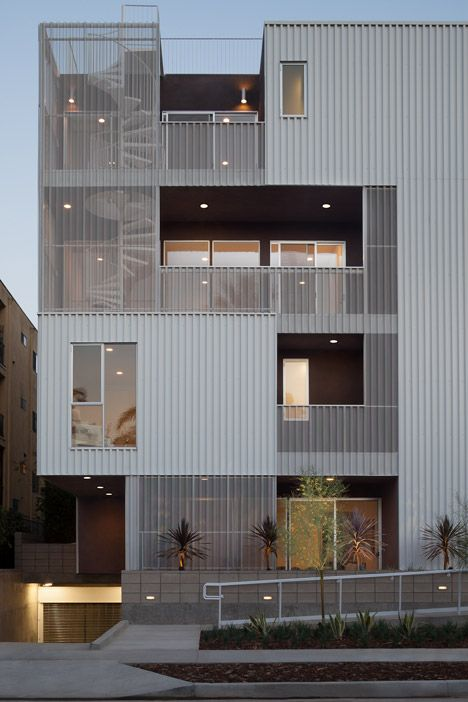 Cloverdale749 apartments by LOHA. http://www.dezeen.com/2014/05/28/cloverdale749-apartments-by-loha-feature-balconies-screened-by-perforated-metal-sheets/