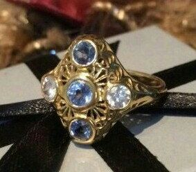 Edwardian Diamond and Sapphires Filigree Engagement Ring, 1.12 ctw, 2 Old Brilliant Cut Diamonds, 3 Natural Sapphires, Size N, 15 mm x 15mm