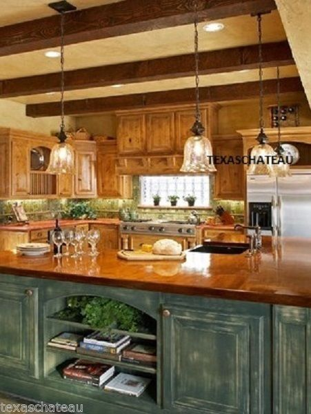 1 FRENCH COUNTRY BRONZE AMBER ART GLASS KITCHEN ISLAND LIGHT FIXTURE PENDANT NEW #Traditional