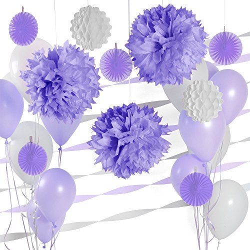 Party Decoration Kit – Purple and White Party Supplies