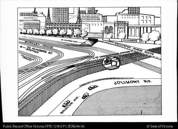 DIAGRAM SHOWING OPENING AREA MELBOURNE UNDERGROUND RAIL LOOP COPIED 29-6-1971