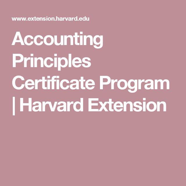 Accounting Principles Certificate Program | Harvard Extension