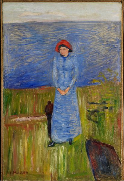 amare-habeo:  Edvard Munch (1863–1944) - Woman in red hat on the Fjord (Blue Harmonies - Red Hat) (Femme au chapeau rouge sur le Fjord (Harmonies bleues – Le chapeau rouge), 1891