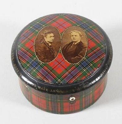 Tartanware thimble and thread box. Princess Louise and John Campbell, Marquess of Lorne/Duke of Argyll are shown. McLean tartan. Auction at Bonhams.
