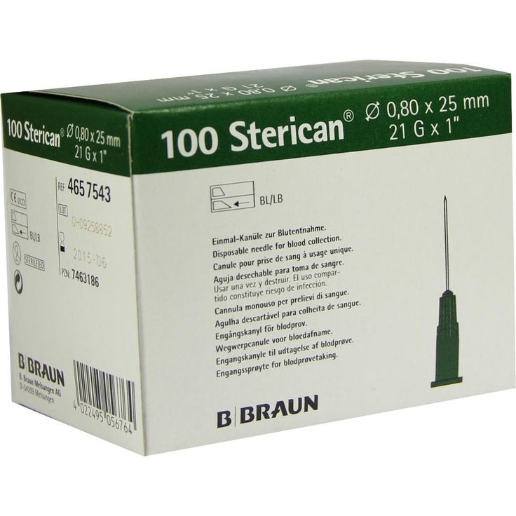 STERICAN Kanülen 21 Gx1 0,8x25 mm:   Packungsinhalt: 100 St Kanüle PZN: 07463186 Hersteller: B. Braun Melsungen AG Preis: 5,36 EUR inkl.…