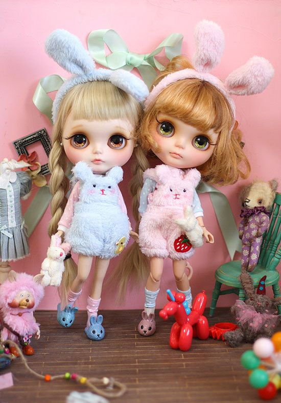 """Sweet bunny 1/6 12"""" Blythe Pullip doll clothes outfit handmade Blythe doll outfit ooak dal azone"""