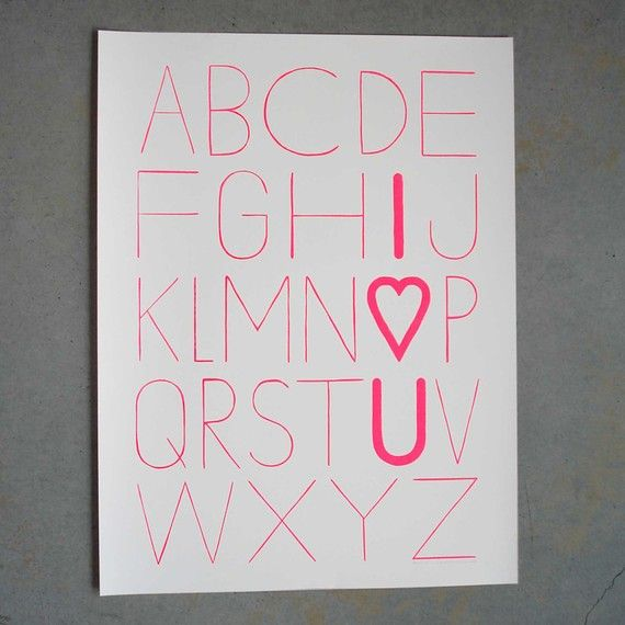 I predict this print will start popping up all over the place. Typographic, fun, original. #valentines #love