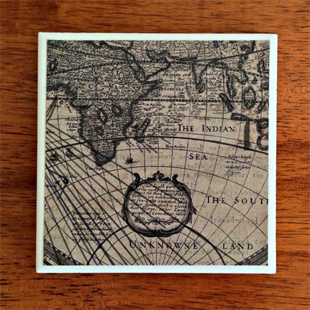 1 x Ceramic Tile Drink Coaster World Map Father's Day Gift for Dads | Studio Astratta | madeit.com.au