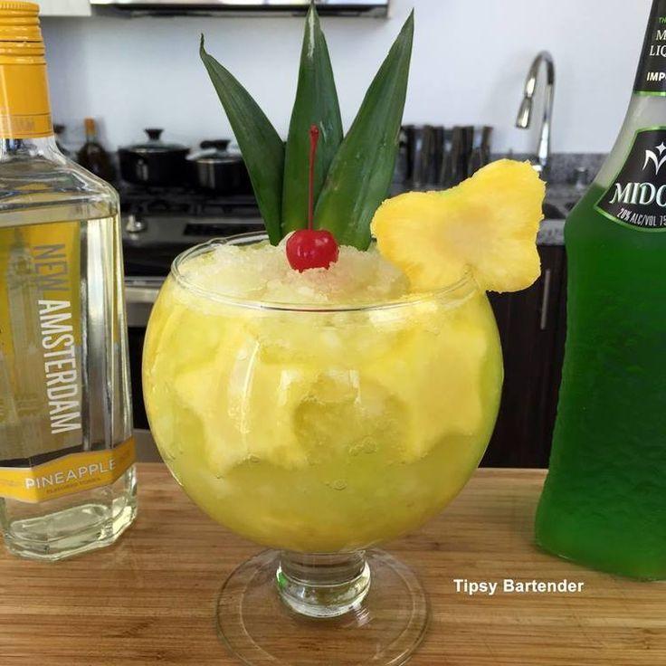 Namaste: Pineapple Slices, Pineapple Vodka, Melon Liqueur, Pineapple Juice, Lemon Lime Soda, Pineapple Shapes, Maraschino Cherry, Pineapple Leaves..