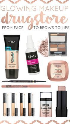Get a full face glowing look - all of the best drugstore beauty products! From face to brows to lips and brushes.