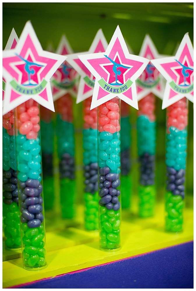 Fun favors at a gymnastics birthday party! See more party ideas at CatchMyParty.com!