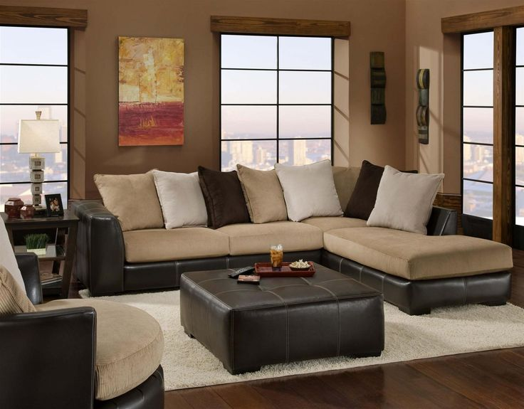 Chelsea Home Furniture Amherst 2 Pc Sectional With Toss Pilows Left Arm Facing Sofa And Right Chaise In San Marino Mocha Coffee Chocolate