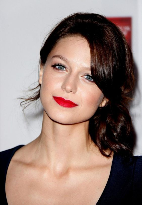 Super Hot Melissa Benoist In Red Lipstick Without Glasses