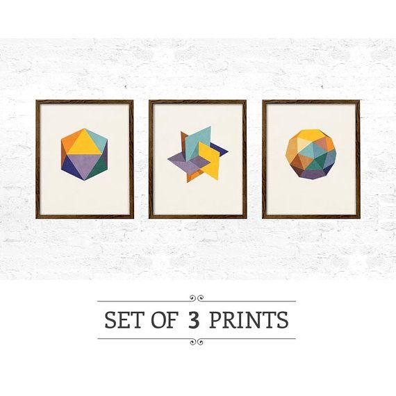 Set of 3 Icosahedron prints. geometric print nordic by LatteDesign