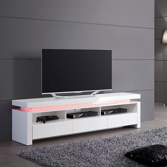 Tivoli LCD TV Stand In White Gloss With 3 Drawers And LED Lights
