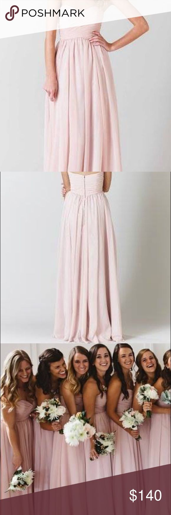 """Kennedy Blue """"Olivia"""" Bridesmaid Dress in Blush Floor length crinkle chiffon dress. Sweetheart neckline, A-line skirt, fully boned bodice, fully lined dress with a center back zip closure.  Purchased as a size 4, altered to a size 2. I am 125 lbs, 34B, 5' 4"""" and the dress fit perfectly. I wore 4"""" heels and the dress just hit the ground. The dress is in like-new, professionally dry-cleaned and has been preserved in it's dry cleaning bag in a smoke-free home. Currently retails for $185 on the…"""