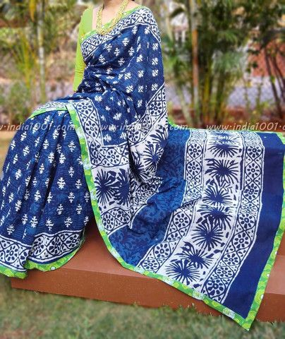 Beautiful Indigo Mul Cotton Saree with Stitched borders